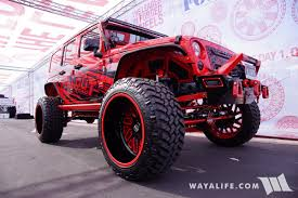 jeep unlimited red 2017 sema american force wheels allout offroad red jeep jk