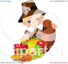 thanksgiving emoticon cartoon of a cute thanksgiving pilgrim boy with a horn of plenty