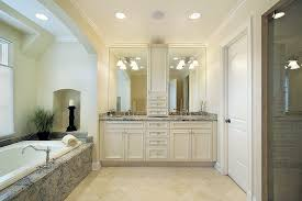 Luxury White Master Bathroom Ideas Pictures Home Stratosphere - Floor to ceiling bathroom storage cabinets