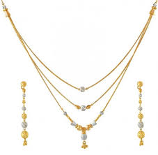 earring chain necklace images Layered chain necklace set ajns50838 22k gold layered necklace jpg