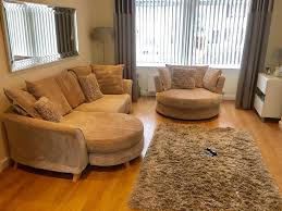 Large Swivel Chairs Living Room 4 Seater Pillow Back Sofa Large Swivel Chair U0026 Footstool In Cream