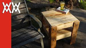 Free Wood End Table Plans by Diy Rustic Side Table Made From Free Pallets Youtube