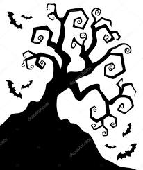 spooky silhouette of halloween tree u2014 stock vector clairev 11835887