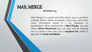 office 2013 mail merge mail merge