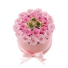 gold roses medium pink box light pink gold roses flovery