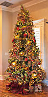 decorated christmas trees with gold ribbon ne wall