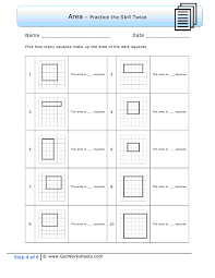 printable area worksheets 3rd grade third grade step 4 exle