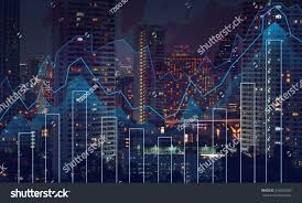 World Map At Night by Trading Graph On Cityscape Night World Stock Photo 295653269