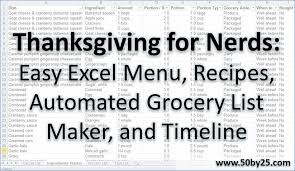 thanksgiving for nerds easy excel menu recipes automated