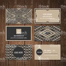 Wood Texture Business Card Ethnic Tribal Style Business Card Collection On Wood Background