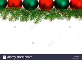 Christmas Ornament With Photo Row Of Green And Red Christmas Ornaments With Tree Branches Stock