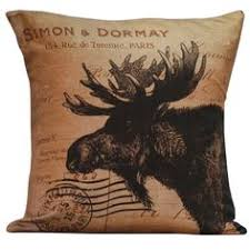burlap hessian moose pillow cushion christmas winter or boys