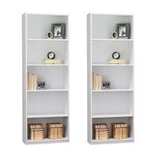 Narrow Bookcase White Decoration 5 Shelf Ladder Style Bookcase Narrow Book Shelves