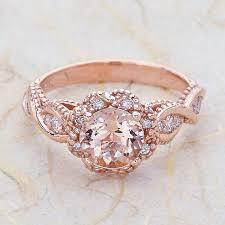 rose color rings images 14k vintage rose gold engagement ring round morganite rose gold jpg