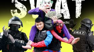 swat team halloween costumes joker thief steal money of spiderbaby u0026 police spiderman is swat