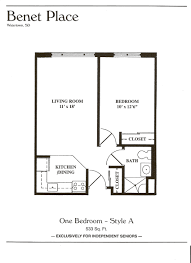 Apartment Plan Floor Plans Benet Place Senior Apartments Independent Living
