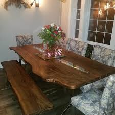 slab dining room table custom live edge walnut slab dining set with leds glass inlay and