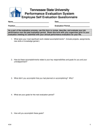 employee performance evaluation form templates fillable