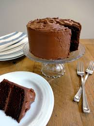 one bowl chocolate cake with chocolate buttercream frosting two