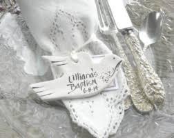 baptism ornament favors salt dough dove baptism napkin ring favors handcrafted salt dough