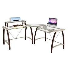 Glass L Shaped Computer Desk by Z Line Designs Kayden Corner Desk With Hutch Espresso With Clear