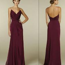 spaghetti dress maroon spaghetti straps v neck simple open back formal prom