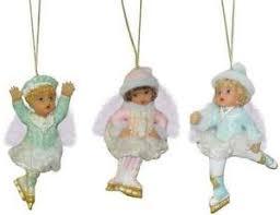 3 sweetheart cherubs skaters heirloom ornaments ashton 30