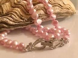 real pink pearl necklace images Necklace pink pearls hand knotted on silk thread with hearts and jpg