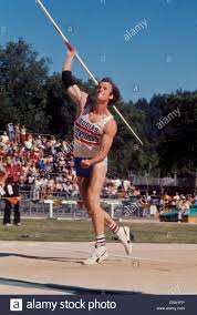 fred dixon throwing the javelin during the decathlon competition