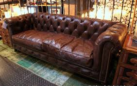 Distressed Leather Chesterfield Sofa Furniture Large Brown Leather Chesterfield Seat With