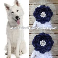 Dog ring bearer Dog ring holder Blue dog bows Dog collar flower
