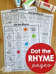 rhyming worksheets dot the rhyme kindergarten literacy centers