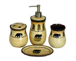 Rustic Bathroom Decor by Amazon Com Hiend Accents Bear Lodge Bathroom Set Home U0026 Kitchen