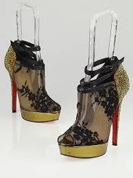 christian louboutin black lace bridget strass peep toe booties