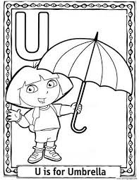 dora cartoon alphabet free umbrella2b65 coloring pages printable