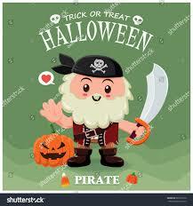 vintage halloween poster design pirate character stock vector