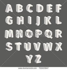 isometric alphabet techno font block letters stock vector