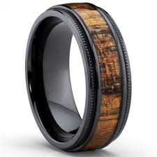 mens wedding bands wood mens tungsten wedding band wood ring with flat profile throughout