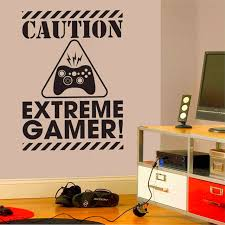 Gamer Home Decor with Caution Extreme Gamer Wall Art Stickers Decals Vinyl Home Decor