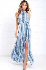 light blue halter maxi dress light blue print dress halter dress maxi dress 59 00