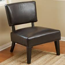 small brown leather armless accent chair mid century modern design