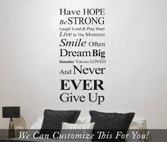 wall vinyl have hope be strong dream big never ever give up inspirational