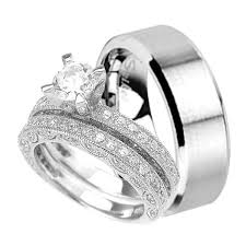 Wedding Rings Sets For Him And Her by His And Her Wedding Rings Set Hers In Sterling Silver His Is