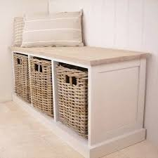 Wicker Storage Bench Southwold Cedar Wooden Ivory Storage Bench Seat Wicker Baskets