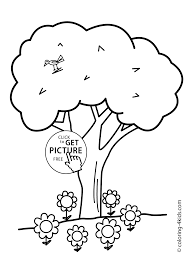 nature tree with bird coloring page for kids printable free