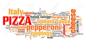 word for cuisine pizza typical food for cuisine word cloud sign stock