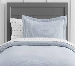 Matteo Crib Bedding Yarn Dye Ticking Stripe Duvet Cover Blue Crib Bedding Quilt