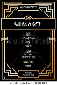 art deco wedding invitation card vectorillustration stock vector