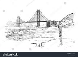 panorama golden gate bridge lonely man stock vector 349288103