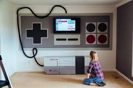 home theater console furniture nintendo themed home theater a mom made for her kids photos